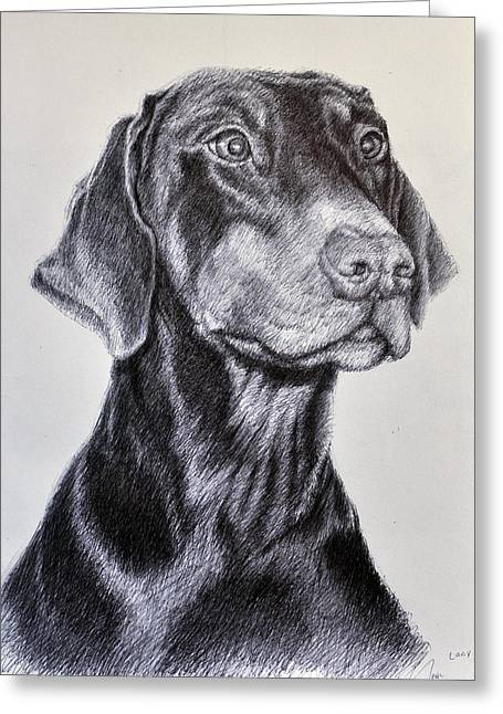 Guard Dog Drawings Greeting Cards - Lacy Greeting Card by Rick Hansen