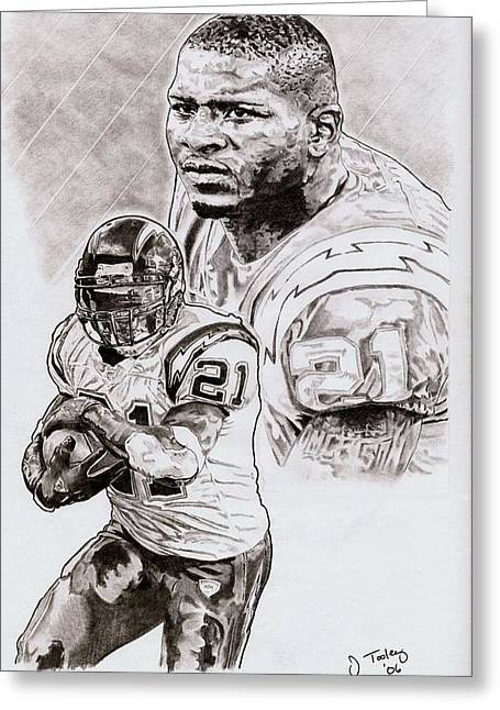 Running Back Drawings Greeting Cards - Ladanian Tomlinson Greeting Card by Jonathan Tooley