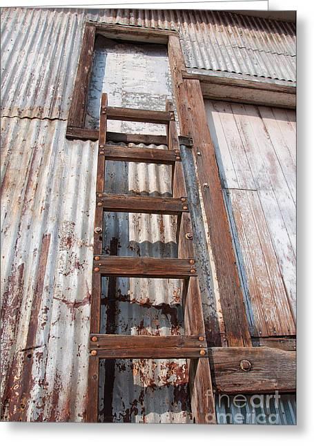 Old Feed Mills Photographs Greeting Cards - Ladder 1 Greeting Card by Minnie Lippiatt