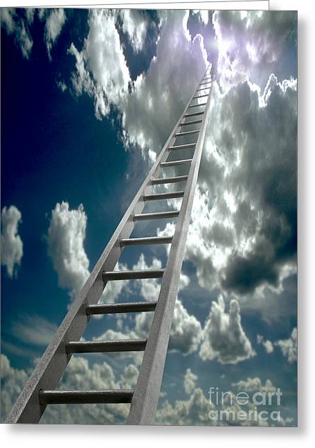 Ascending Risen Greeting Cards - Ladder Ascending Into The Clouds Greeting Card by Mike Agliolo