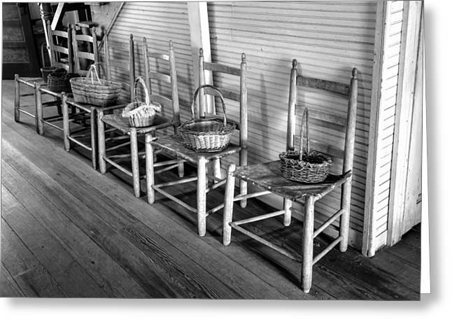 Ladder Back Chairs Greeting Cards - Ladder Back Chairs and Baskets Greeting Card by Lynn Palmer