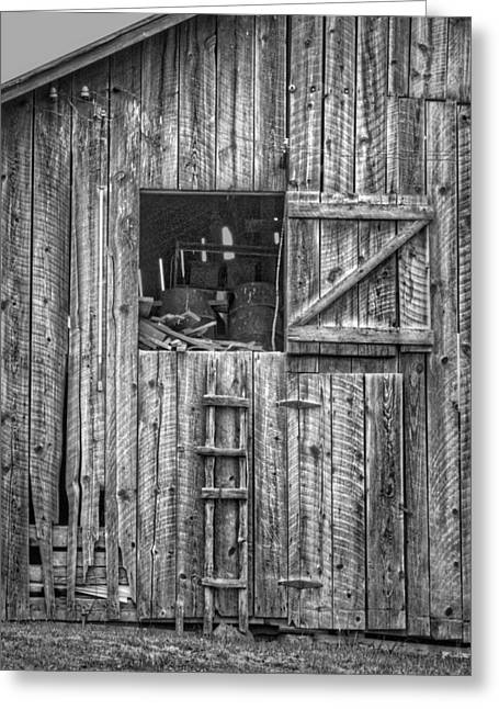 Out-building Greeting Cards - Ladder to the Loft - Vertical - Black and White Greeting Card by Nikolyn McDonald