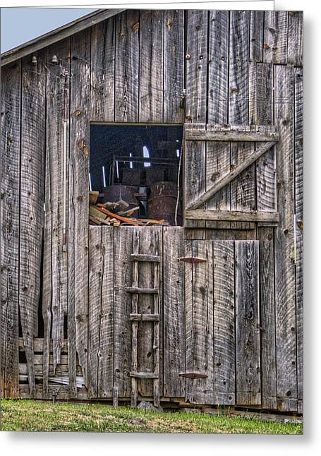 Out-building Greeting Cards - Ladder to the Loft - Vertical Greeting Card by Nikolyn McDonald