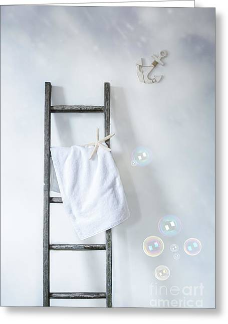 Laundering Greeting Cards - Ladder With Towel Greeting Card by Amanda And Christopher Elwell