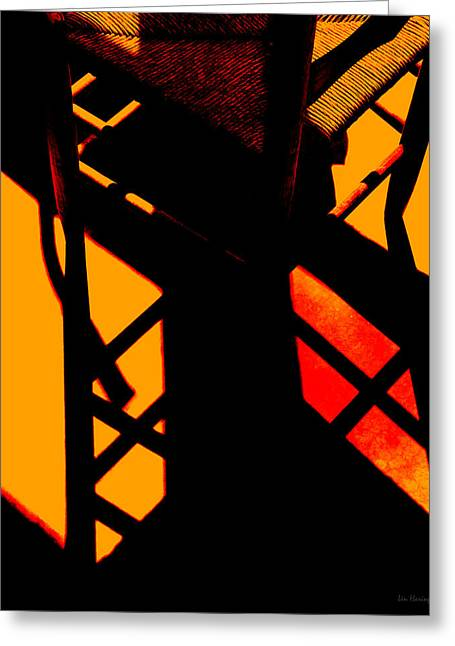 Ladder Back Chairs Greeting Cards - Ladderback Flamenco Greeting Card by Lin Haring