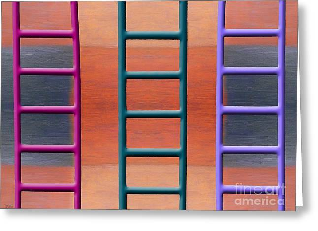 Fine Mixed Media Greeting Cards - Ladders Greeting Card by Patrick J Murphy