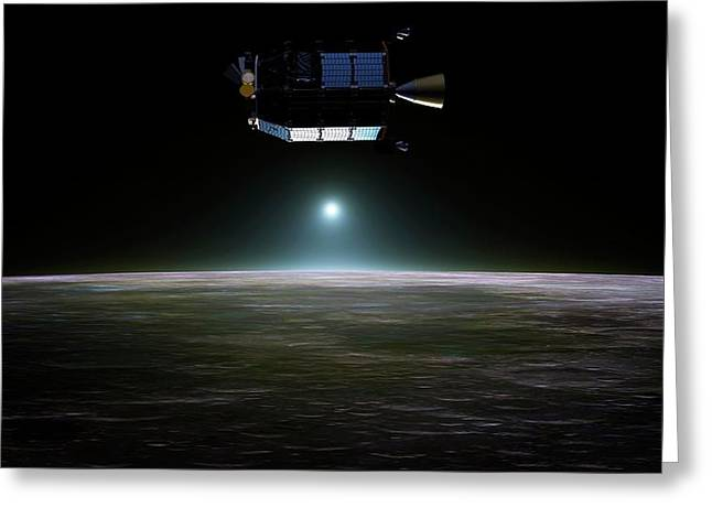 Ladee Spacecraft Over The Moon Greeting Card by Nasa Ames/dana Berry