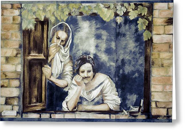 Woman At The Window Greeting Cards - Ladies At A Window Greeting Card by Photographic Art by Russel Ray Photos