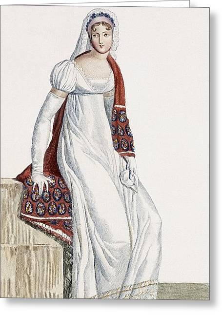 Gloves Drawings Greeting Cards - Ladies Day Dress, 1811 Greeting Card by Pierre de La Mesangere