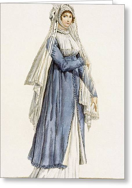 Veiled Drawings Greeting Cards - Ladies Day Dress, Plate Greeting Card by Antoine Charles Horace Vernet
