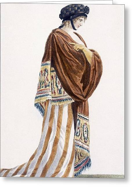 Ladies Dress With Velvet Shawl Greeting Card by Pierre de La Mesangere