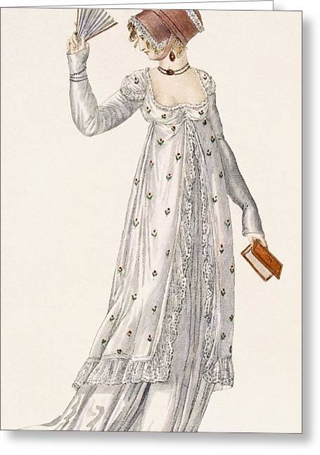 Light Blue Drawings Greeting Cards - Ladies Evening Dress, Fashion Plate Greeting Card by English School