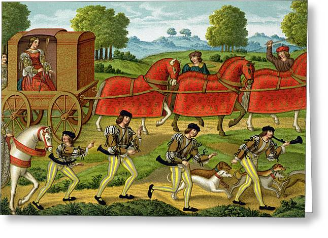Hound Drawings Greeting Cards - Ladies Hunting, From A Miniature Greeting Card by French School