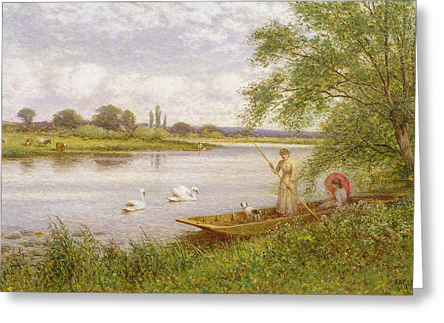 Doggies Greeting Cards - Ladies in a Punt Greeting Card by Arthur Augustus II Glendening