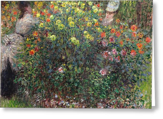 Vintage Painter Greeting Cards - Ladies in Flowers Greeting Card by Claude Monet