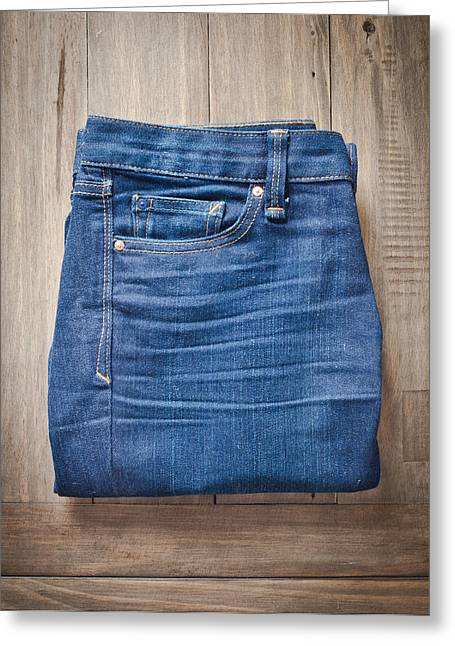 Casual Blue Jeans Greeting Cards - Ladies jeans Greeting Card by Tom Gowanlock