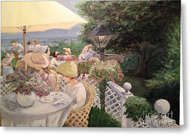 Al Fresco Greeting Cards - Ladies Luncheon Greeting Card by Marilyn Zalatan