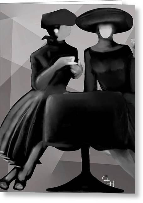 Coffee Drinking Digital Art Greeting Cards - Ladies Lunching Greeting Card by Cheri Homaee