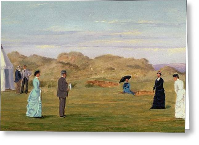 Golf Hole Greeting Cards - Ladies Match at Westward Ho Greeting Card by Francis Powell Hopkins