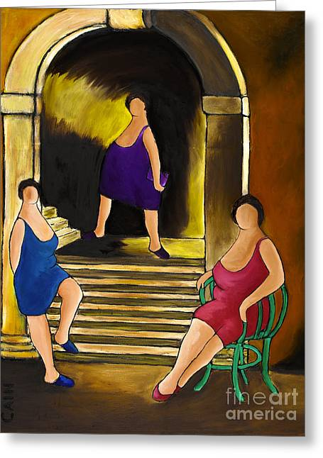 Italian Night Life Greeting Cards - Ladies Of The Night Greeting Card by William Cain