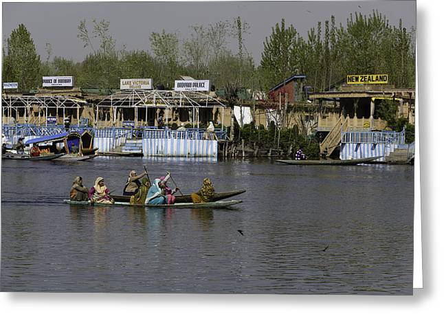 Ply Greeting Cards - Ladies on 2 wooden boats on the Dal Lake Greeting Card by Ashish Agarwal