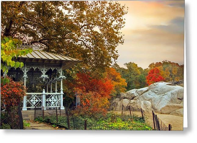 Fall Trees Greeting Cards - Ladies Pavilion in Autumn Greeting Card by Jessica Jenney