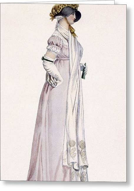 Gloves Drawings Greeting Cards - Ladies Promenade Dress, Illustration Greeting Card by Antoine Charles Horace Vernet