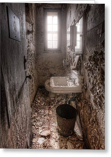 Abandoned Places Greeting Cards - Ladies room Greeting Card by Gary Heller