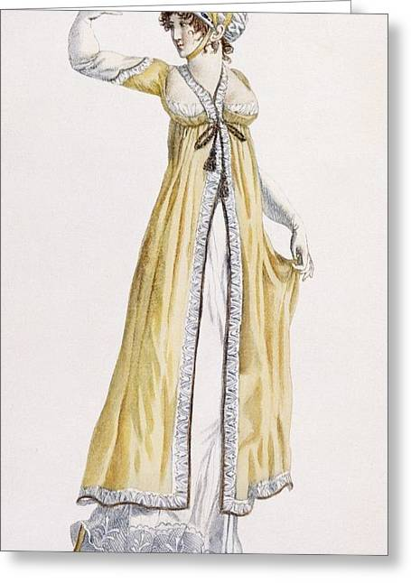 Yellow Line Drawings Greeting Cards - Ladies Russian Style Tunic Greeting Card by Pierre de La Mesangere