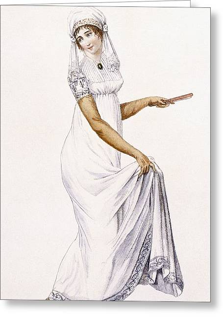 Veiled Drawings Greeting Cards - Ladies Simple White Evening Gown Greeting Card by Pierre de La Mesangere