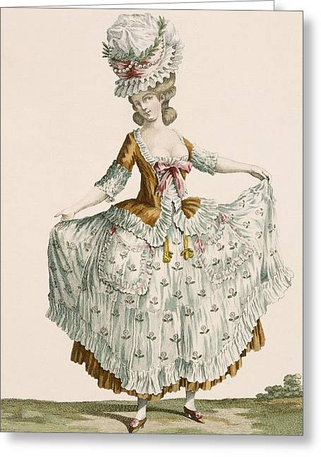 Layers Greeting Cards - Ladies Style Evening Dress, Engraved Greeting Card by Claude Louis Desrais