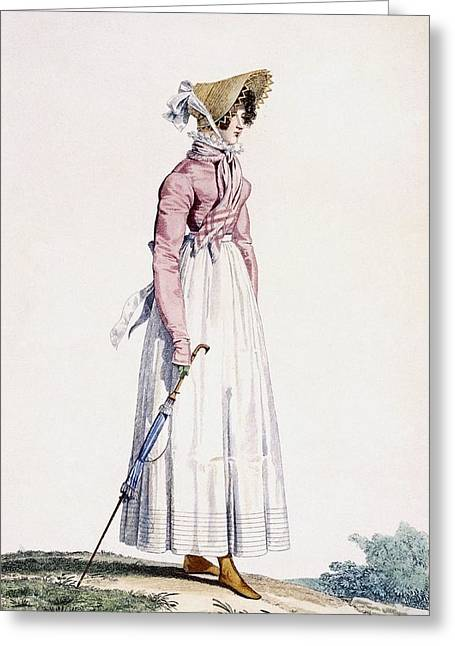 Yellow Line Drawings Greeting Cards - Ladies Summer Dress, Plate Greeting Card by Antoine Charles Horace Vernet