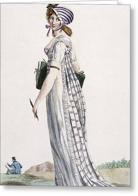 Landscape Artist Greeting Cards - Ladies Walking Dress, Illustration Greeting Card by Pierre de La Mesangere