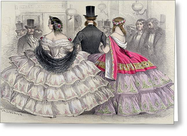 Crinoline Greeting Cards - Ladies Wearing Crinolines at the Royal Italian Opera Greeting Card by TH Guerin