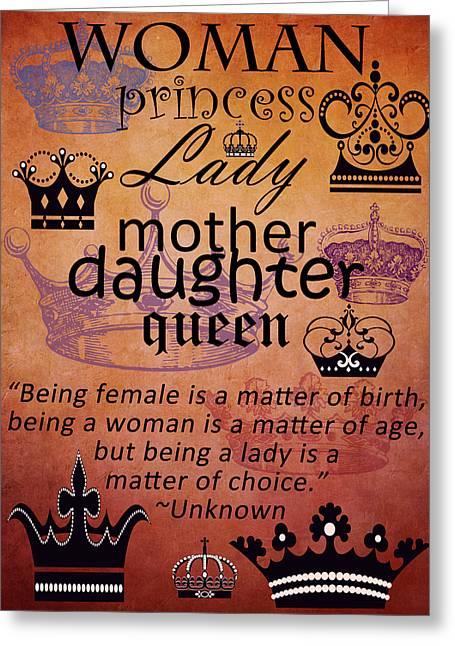 Princess Mixed Media Greeting Cards - Lady 3 Greeting Card by Angelina Vick