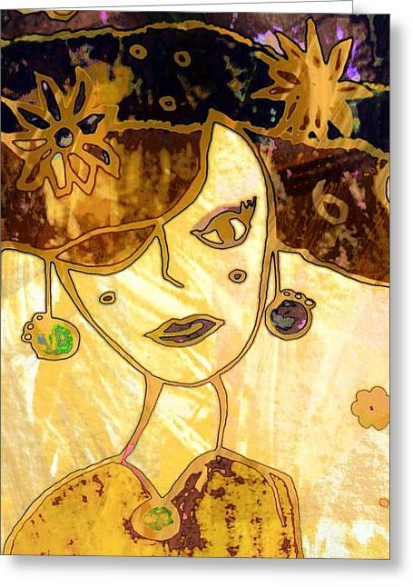 Gold Earrings Greeting Cards - Lady 3 Greeting Card by Anne Costello