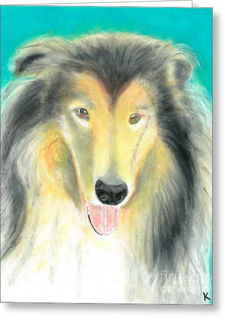 Collie Pastels Greeting Cards - Lady Greeting Card by Aaron Koster