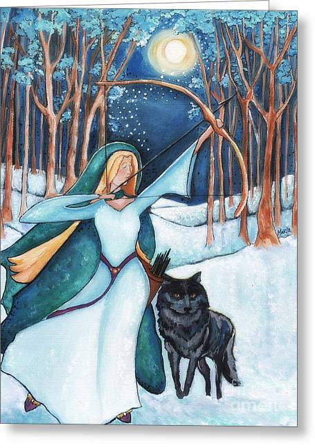 Arkansas Paintings Greeting Cards - Lady And The Arrow Greeting Card by MarLa Hoover