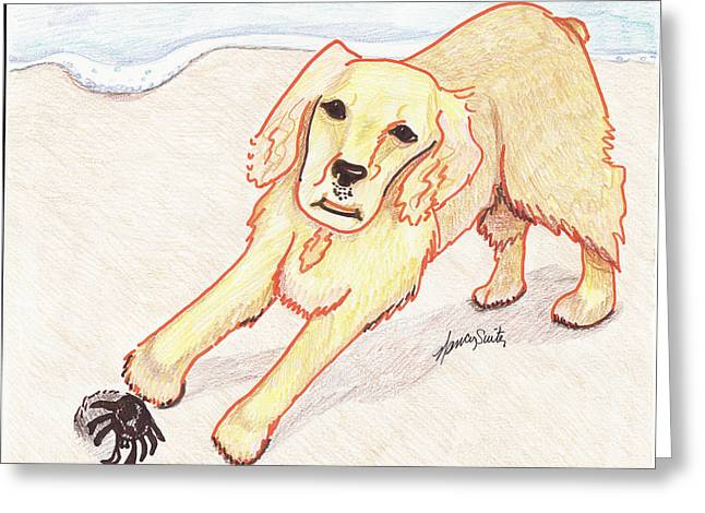 On The Beach Drawings Greeting Cards - Lady and the Sandcrab Greeting Card by Nancy Suiter