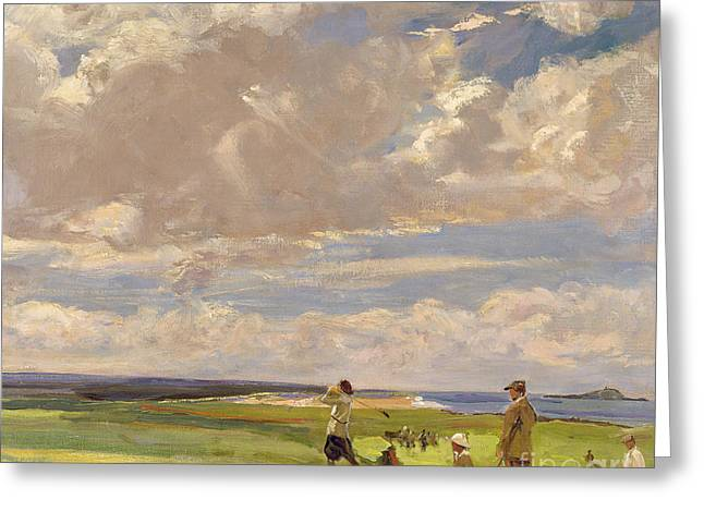 White Paintings Greeting Cards - Lady Astor playing golf at North Berwick Greeting Card by Sir John Lavery