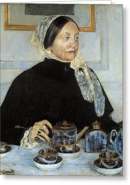 Cassatt Greeting Cards - Lady at the Tea Table Greeting Card by Mary Cassatt