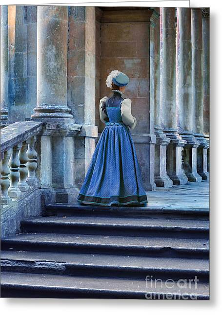 Renaissance Clothing Greeting Cards - Lady at the Top of the Steps Greeting Card by Jill Battaglia