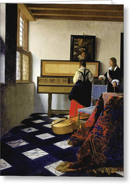 Recently Sold -  - Lessons Greeting Cards - Lady at the Virginal with a Gentleman . The Music Lesson  Greeting Card by Johannes Vermeer
