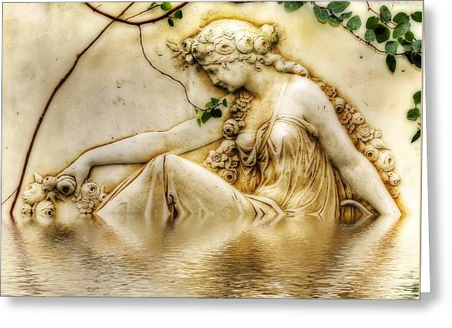 Reflection In Water Digital Greeting Cards - Lady Bathing 2 Greeting Card by Kaye Menner