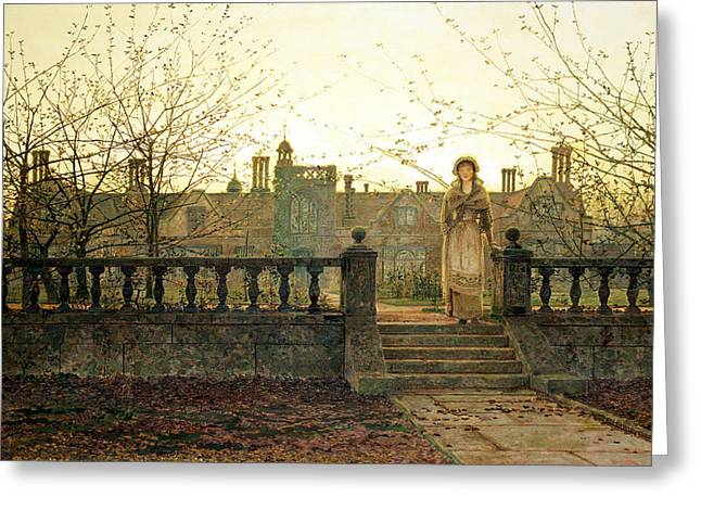 Lady Bountiful Greeting Card by John Atkinson Grimshaw