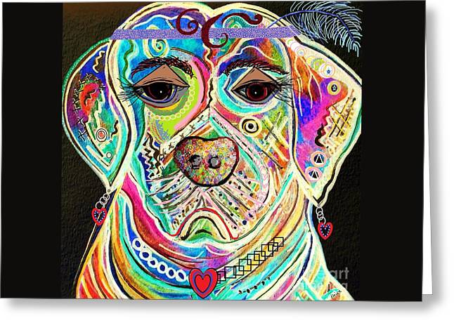 Boxer Abstract Art Greeting Cards - Lady Boxer Greeting Card by Eloise Schneider