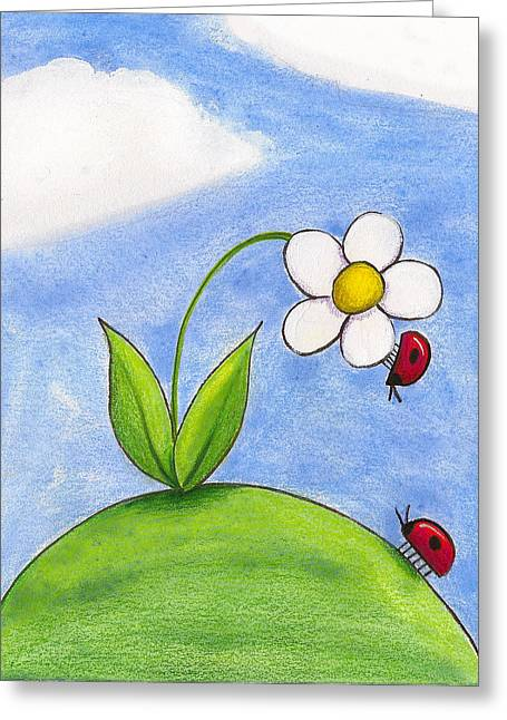 Kids Room Drawings Greeting Cards - Lady Bug Love Greeting Card by Christy Beckwith
