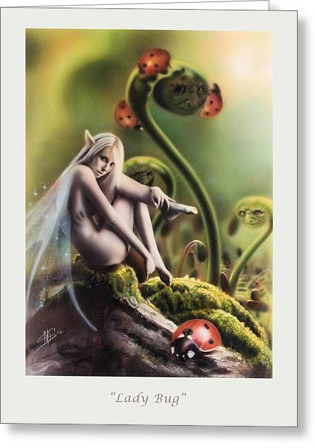 Faerie Paintings Greeting Cards - Lady Bug Greeting Card by Marissa Oosterlee