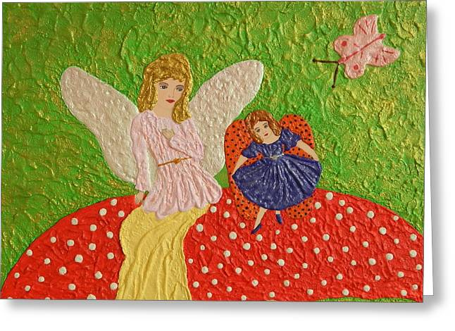 Contemporary Reliefs Greeting Cards - Lady Bug meets Fairy Greeting Card by Liza Wheeler