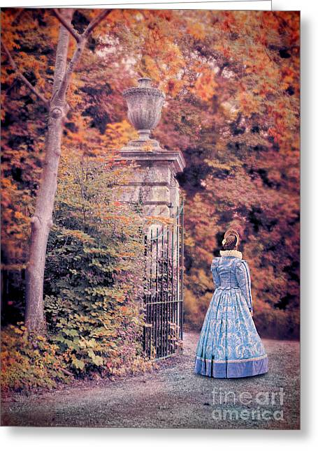 Renaissance Clothing Greeting Cards - Lady by the Gate Greeting Card by Jill Battaglia